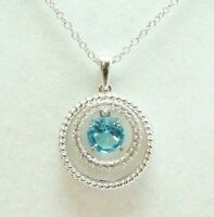 JWBR Sterling Silver 925 Floating Blue and White Topaz Circle Pendant Necklace