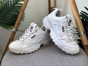 FILA Disruptor II Premium Sneakers Women's Size 8 White Trainers Shoes