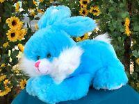"RARE Vintage Walmart Turquoise Laying Bunny Rabbit 13"" Plush Stuffed Animal Toy"