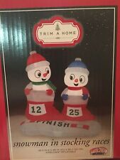 Christmas Inflatable Snowman Decoration  Light Up Outdoor Xmas Air blown Races