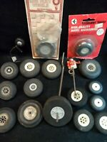 17 Model Airplane Tires Wheels Lot - Various Sizes