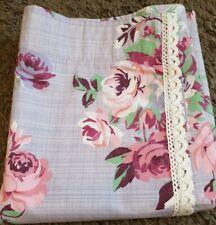 Next Vintage Floral Mauve Print Lace Edge Pencil Pleat Curtains 168(W)x137(L)cm