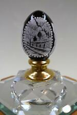 FENTON EGG Black 14K GOLD Winter Barn Scene  #d 381 5140H7 MIB freeUSAship