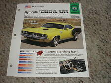 USA Mopar 1970-1971 Plymouth 'CUDA 383 Hot Cars Group 4 # 76 Spec Sheet Brochure