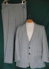 Vintage 60's Light Blue & Gray Plaid Wool Suit C42