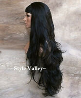 Brown Black 3/4 Fall Hairpiece STUNNING Extra Long Wavy Half Wig Hair Piece  #2