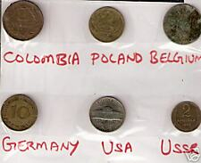 6 DIFFERENT COUNTRIES COINS LOT WITH COLOMBIA BELGIUM GERMANY # MF 9