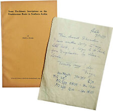 1977 SIGNED MS LETTER - FREYA STARK in EUPHRATES - And Rare Offprint  Hadhramaut