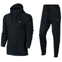 Men's Nike Modern Tracksuit Set Full Zip Hoodie Joggers Bottoms Black