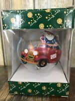 New Dillards Trimmings Santa Car USA Painted Glass Christmas or Bust Ornament