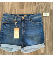 Seven7 Womens Booty Shaper Shorts Blue Stretch Medium Wash Whiskered Denim 8 New