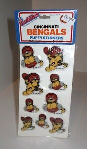 Vintage 1983 NFL Cincinnati Bengals Mascot Huddles Puffy Stickers Sealed Pack