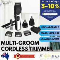 Wahl Cordless Beard Hair Clippers Grooming Set Rechargeable Nose Ear Trimmer Kit