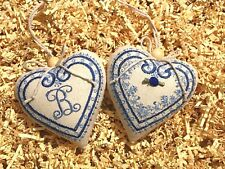 Embroidery  Fabric Covered Hanging Love Hearts Decoration