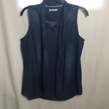 Kenneth Cole Reaction Womens Blue Chambray Sleeveless Top Size Small