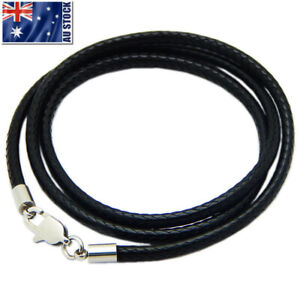 Black Woven Necklace Rope Leather Cord Stainless Steel Lobster Clasp Mens Womens