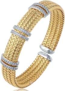 "Charles Garnier ""Ferrara"" Gold-Plated Sterling Silver 12mm Mesh CZ Cuff Bracelet"