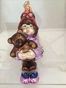 """AP 898 """"Girl with Bear"""" {1999)  Polonaise 6.5""""T Ornament  (K. Adler) New/tag"""