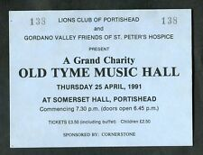 1991 Ticket: Lions Club of Portishead Charity Event: Old Tyme Music Hall