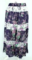 Elizabeth Scott Boho Floral Purple White Tiered Elastic Waist Gypsy Midi Skirt M