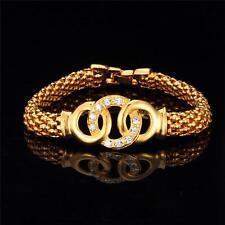 2016 New Arrival 18k Stamped Gold Plated Popcorn Link Cubic Zirconia Bracelet