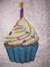 Embroidered 100% Cotton White Hand Towel- HS0413 BIRTHDAY CUPCAKE- WITH CANDLE