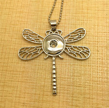 Animal Dragonfly Pendant Alloy for Fit Noosa Necklace Snap Chunk Button FA26