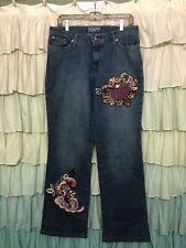 Kippys Colored Crystal Boho Jeans Sparkle Bling  SZ 10- Bootcut Flare (30x33)