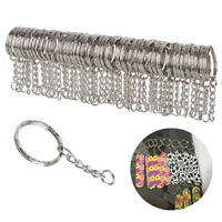 15PCS Blank Silver Keyring Tone 4 Link Split Ring Short Chain  Keychain Making
