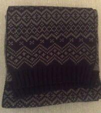 LABEL:J  Men's Scarf 'Jake' Patterned Design Reversible - Black/Grey One Size