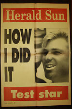 1994 Herald Sun Shane Warne How I Did It Hat Trick Newspaper Cricket Poster