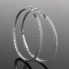 EPIC FASHION- Sterling Silver Plated Mesh Etched Hoop Earrings -Super Hoop
