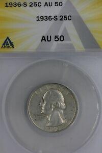 1936-S  .25  ANACS   AU 50  Washington Quarter, Silver 25 Cents (0.25)