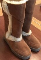 New STYLE & CO Women's / Girl's LEATHER SUEDE FAUX FUR Lined Tall Boots Size 6