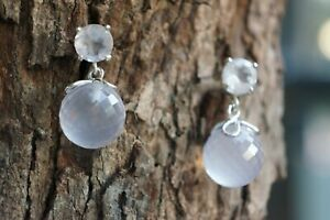 Rose Quartz Earrings Natural Faceted Gemstone Ball Drop Fine Solid 925 Silver