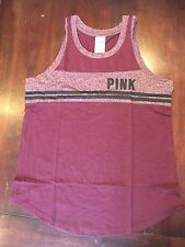 Victoria's Secret PINK Russian Ruby Maroon Tailgate Tank Top NEW Small