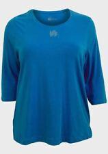 Plus Size 24/26 Blue Cotton Elastane Stretch 3/4 Sleeve T Shirt Top NWOT