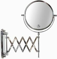 Wall Mounted Makeup Mirror Extended Magnifying Shaving Articulating Two-Sided