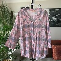 LA CERA sz XL Pale Pink & Purple Batik Print Pintuck Blouse Top