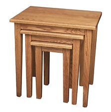 Amish Shaker Nesting TV Snack Tables Oak Solid Wood Set of (3)
