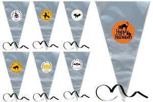 Personalised Halloween Sweet Cones, Party, Filler, Cello, Black Curling Ribbon,
