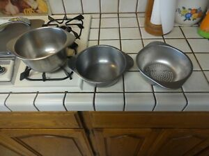 Revere Ware Deep & Shallow Double Boilers & Steamer Inserts 2 & 3 QT Sauce Pans