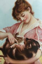 """Antique Victorian Color Print 1892 """"Playmates"""" Girl In Flowers W Dog Near Mint"""