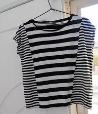 Ladies Black white stripe geometric Marcs top w straight cap sleeves soft XXS XS