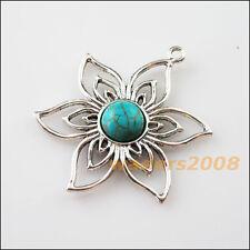 2 New Retro Charms Tibetan Silver Turquoise Flower Pendants Connectors 37.5x47mm