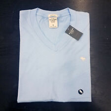 Abercrombie & Fitch Mens V Neck T-Shirt Light Blue Small New with Tag #1002
