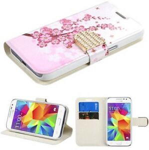 INSTEN Pink White Spring Flowers Leather Folio Wallet For Samsung Galaxy S6 Edge