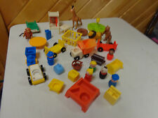 New listing Vintage Fisher Price Little People Mixed Lot Airport Circus Train 25 + Pcs