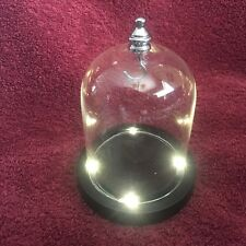 Light Up Glass Display Dome with center hook, 2 different metal finishes