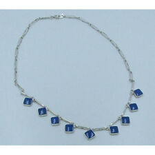 PETITE .925 Sterling Silver Natural Blue Lapis Lazuli Chain Link Necklace
